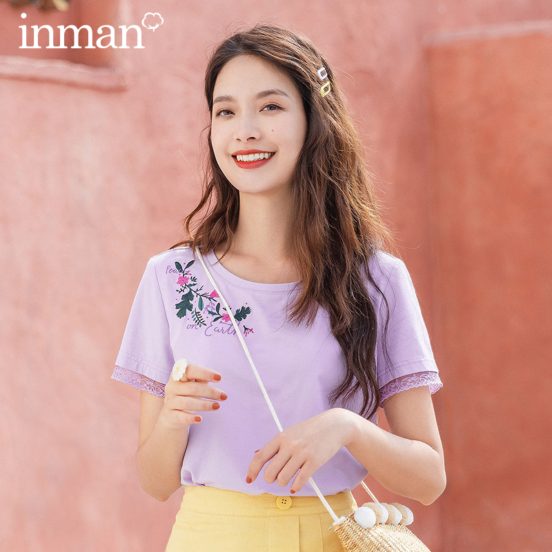 INMAN 2020 Summer New Arrival Simple But Elegant Embroidered Literary O-neck Concise Casual Short Sleeve T-shirt