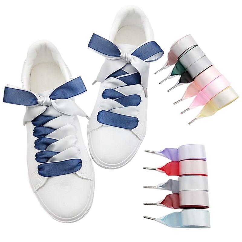 1Pair Satin Silk Ribbon Shoelaces Double-faced Snow Yarn Shoe Lace Fashion Sneakers Shoe Laces 2CM Width 80/100/120cm Length
