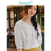 INMAN Artistic lace V collar pure cotton bubble 7 - sleeve shirt loose sleeve blouse(China)