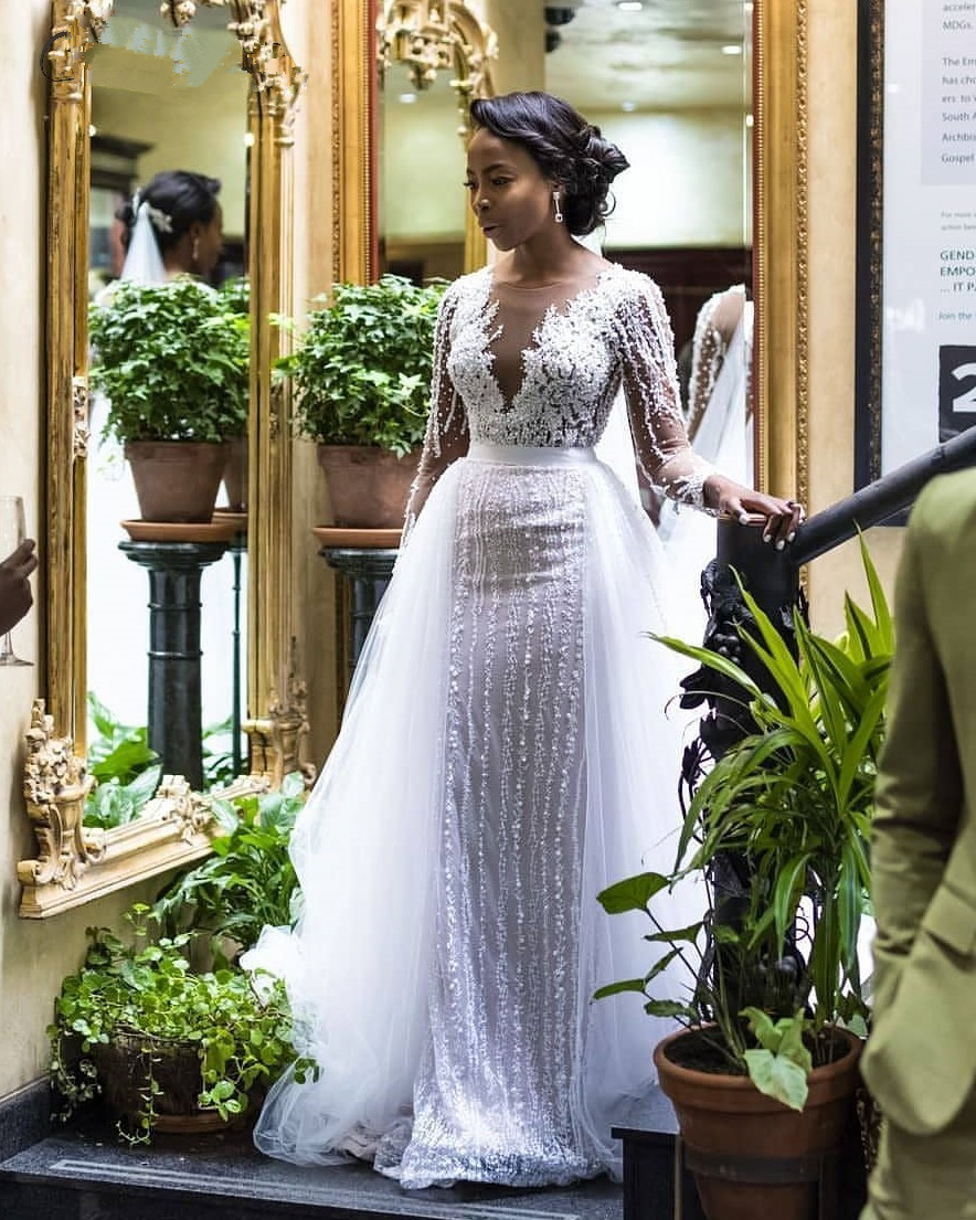African Lace Long Sleeves <font><b>Mermaid</b></font> <font><b>Wedding</b></font> <font><b>Dress</b></font> with Detachable Train 2020 Illusion Tulle Applique Beaded <font><b>Wedding</b></font> Bridal Gowns image