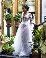 Laço africano mangas compridas sereia vestido de casamento com trem destacável 2020 ilusão tule applique frisado casamento vestidos de noiva
