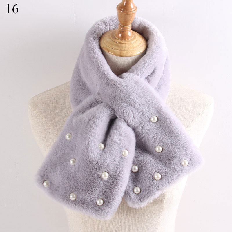 Women Winter Warm Thicken Scarfs Solid Color Faux Rabbit Fur Plush Cross Collar Scarf Shawl Solid With Pearl Elegant Warm Hot