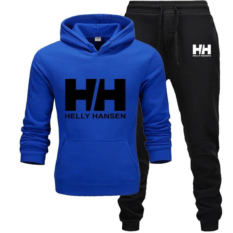 Brand Clothing Men's Fashion Tracksuit Casual Sportsuit Men Hoodies Sweatshirts Sportswear H printingCoat+Pant Men Set