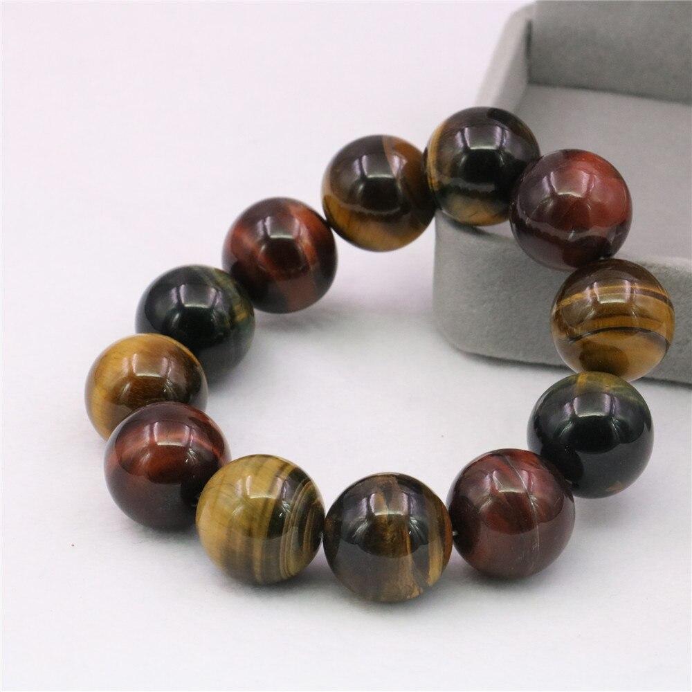 Classic Fashion Mixed Natural Tiger Eye Stone Round Beaded Bracelet 14mm Big Size Men/women Yoga Jewelry 7.5inch Y1040|Hologram Bracelets| - AliExpress