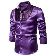 Silk Shirt Court-Dress Slim British Shiny Men's Long-Sleeved Hot Stage Singer-Costume