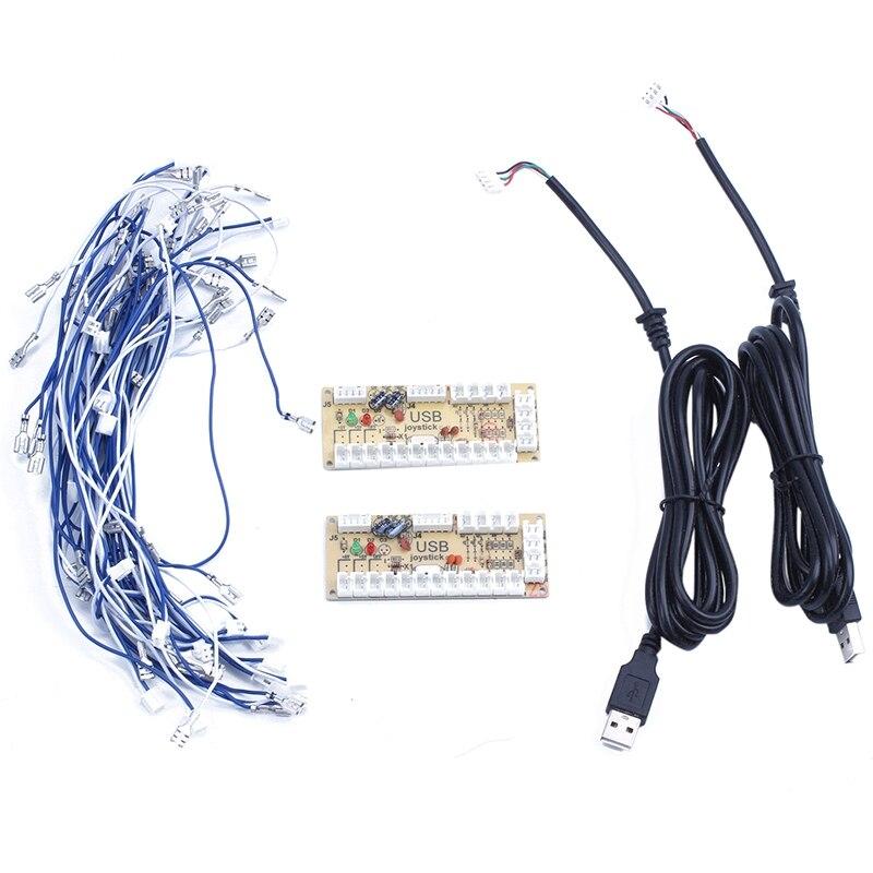 Retail 2X Zero Delay Arcade USB ENCODER PC TO JOYSTICK FOR 2PIN JOYSTICK & 4.8MM BUTTON