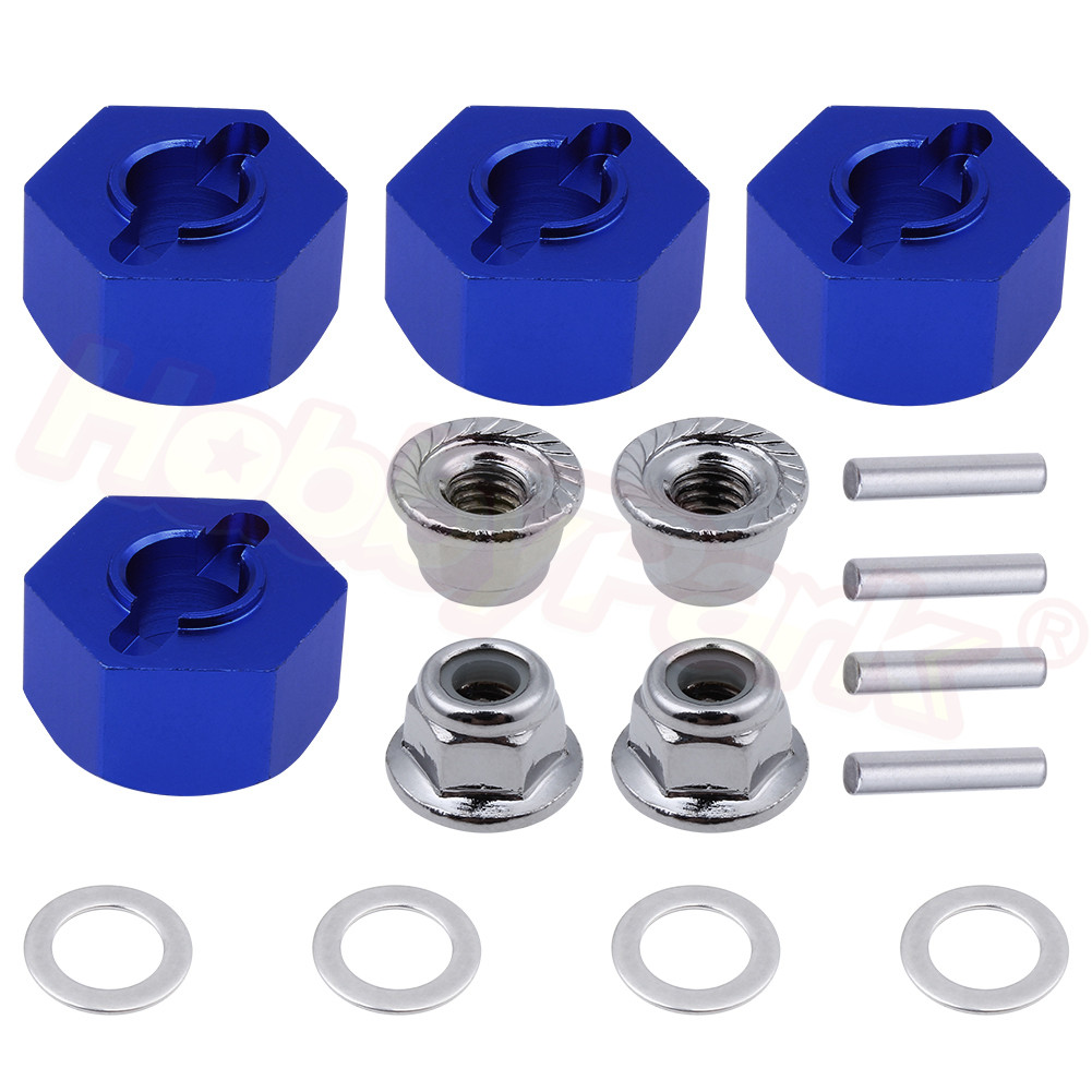 Aluminum Hex Wheel Hubs Adapter and M4 Flanged Lock Nuts Set for Traxxas Slash 2WD 1/10 Short Course Upgrade Parts 1654 3654(China)