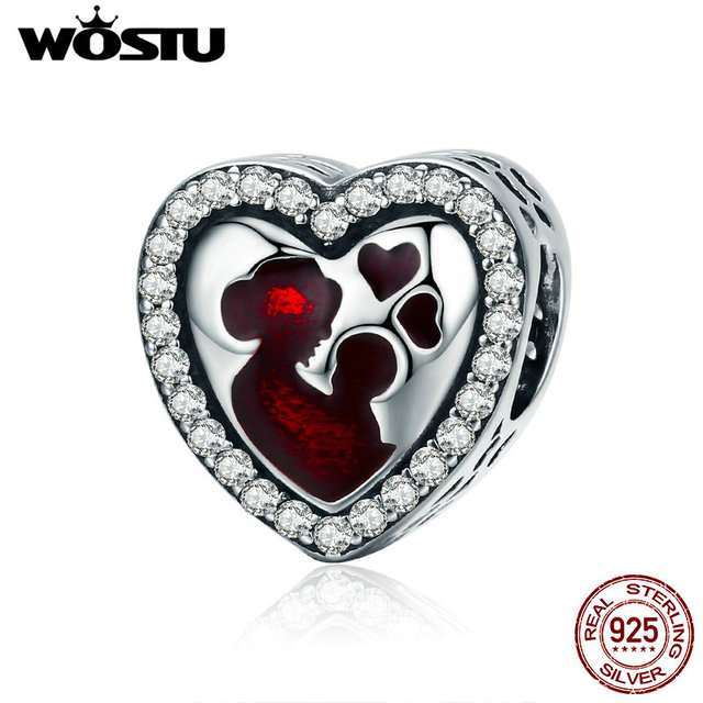 WOSTU 100% Authentic 925 Sterling Silver Heart Shape Charm Mom Beads Fit Original Bracelet Pendant DIY Jewelry Charms Gift 6