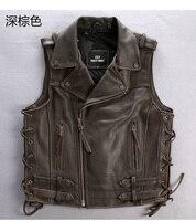 Genuine Cow Men Vest Cool Motorbiker Mens Vests Skull Sleeveless Leather Jacket Sales Style