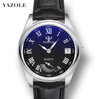 YAZOLE Quartz Watch Men Leather Strap Men Watches Luminous Hands Auto Date Waterproof Wrist Watches for Men Casual Wristwatch