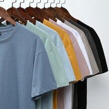 Модная хлопковая футболка однотонная Базовая для мужчин и женщин