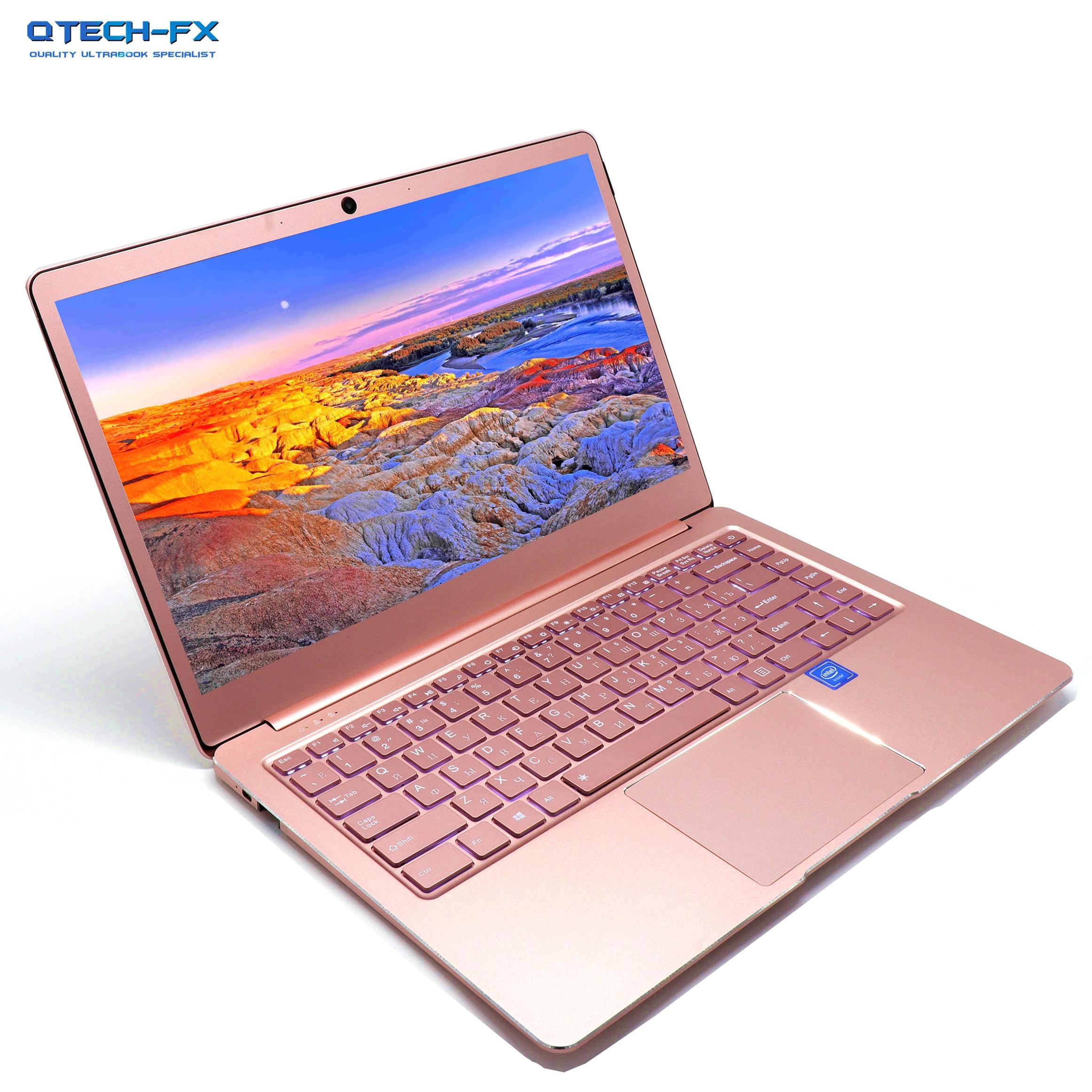 "Metal Ultrabook SSD 256GB 512GB RAM 8GB Pink 14"" CPU Intel 4 Core Windows Office Arabic French Spanish Russian Keyboard Backlit"