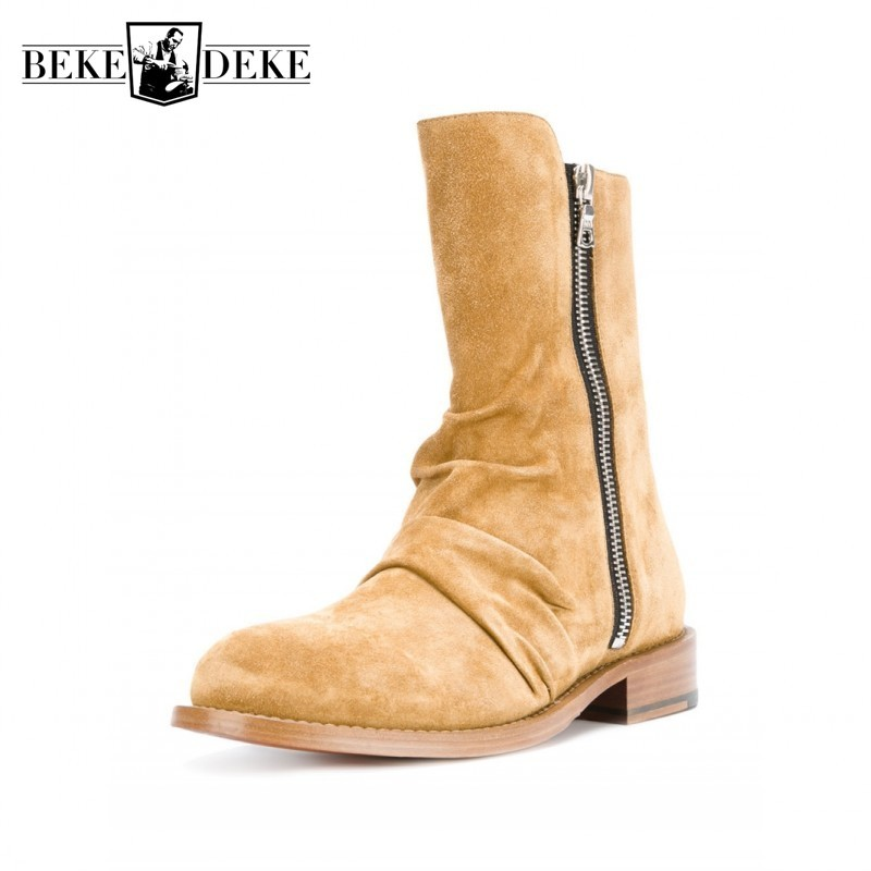 Fashion New Chelsea Boots Men Pointed Toe Pleated British Retro Safety Boots Work Shoes Genuine Leather Double Zip Cowboy Botas