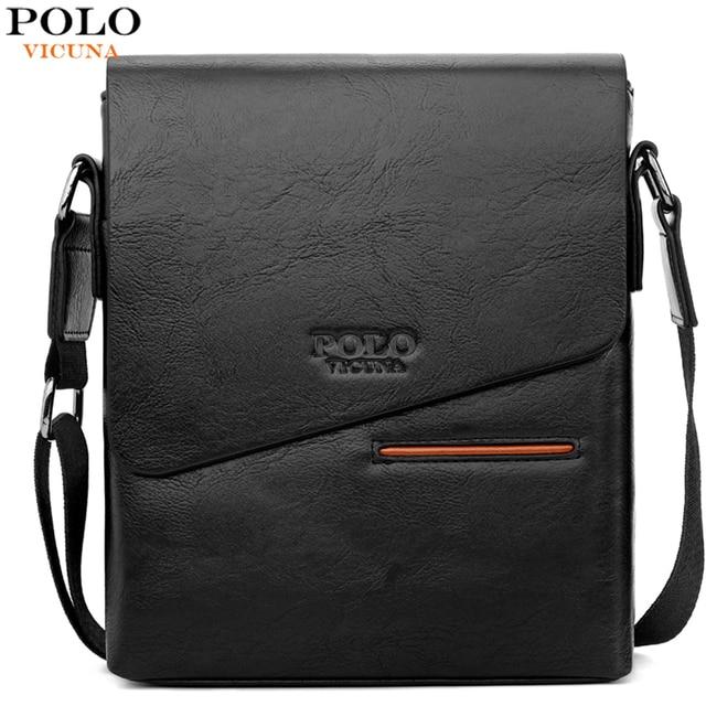 VICUNA POLO Vintage buzlu deri askılı çanta adam marka iş adamı çantası erkek omuz çantaları ön cep erkek çanta
