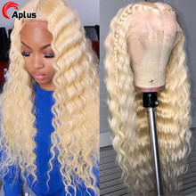 Perruque Lace Frontal Wig naturelle, cheveux humains, Deep Wave, blond 613 613, 13x4, Lace Front Transparent Hd, vague 613