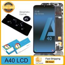 """AMOLED originale da 5.9 """"per Samsung A40 2019 A405F Display LCD Touch Screen Digitizer Assembly con parti di riparazione di ricambio del telaio"""