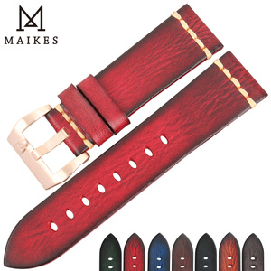 Image 5 - Maikes Watch Accessories Genuine Leather Watchband 20mm 22mm For Samsung Gear s3 Replacement 18mm PUNK Watch Strap Bracelets