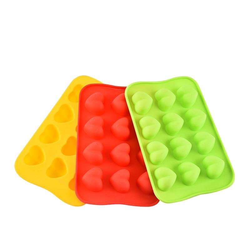 Bac à glaçons en Silicone en forme de coeur à 12 cavités, moule à bonbons au chocolat, empilable Durable et lavable au lave-vaisselle, couleur aléatoire