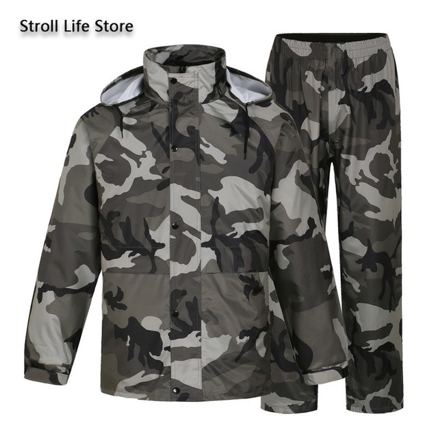 Camouflage Adults Motorcycle Raincoat Men Waterproof Suit for Fishing Male Waterproof Suit for Fishing Hiking Capa De Chuva Gift