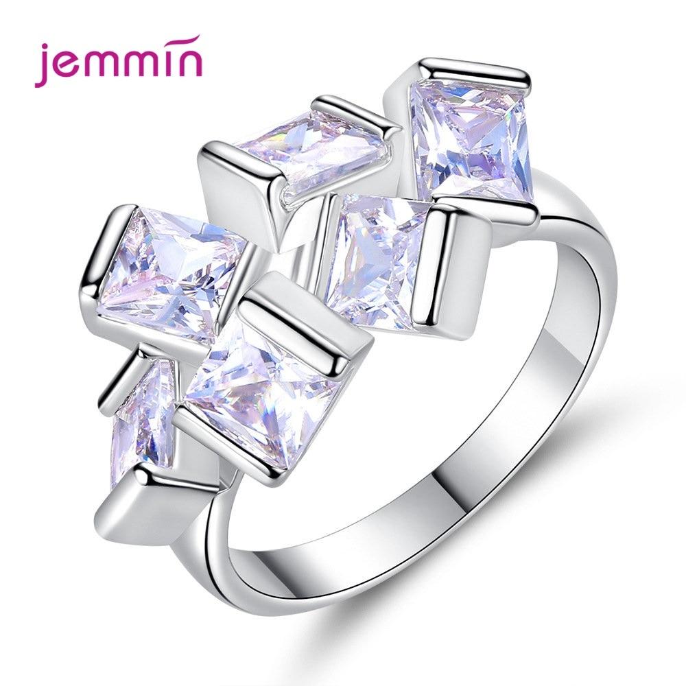 Увеличенное 925 пробы Серебряное штабелируемое квадратное CZ циркониевое кольцо для женщин Высокое качество Свадебные обручальные ювелирны...