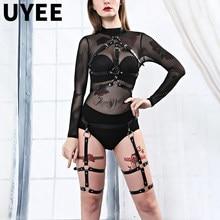 UYEE tirante de cuero para las mujeres arnés cuerpo pierna Liga cinturón gótico ligas lencería Sexy BDSM Correa Jertiyer Harajuku