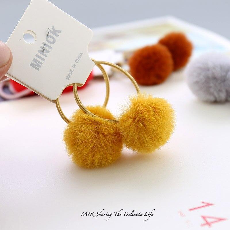 Fashion New 2pcs/set Girls Hair Accessories 3cm Rabbit Fur Ball Hair Ties For Kids Girls Pom Pom Ball Elastic Hair Bands Scrunch