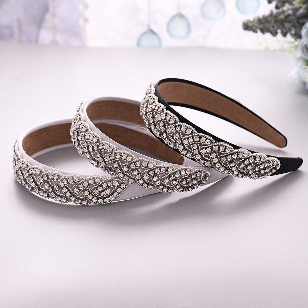 TRiXY S216-FG Charm Crystal Baroque Headband Silver Metal Crown Tiara Hairbands For Women Wedding Hair Jewelry Gifts Headpieces