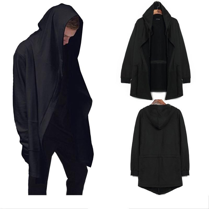 Men Caps Hooded Men Trench Male Coat Casual Long Black Gothic Style Wizard Cloak Outwear Jacket Tops Men Streetwear Plus Sizes