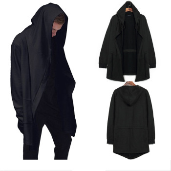 Men Caps Hooded Men Trench Male Coat Casual Long Black Gothic Style Wizard Cloak Outwear Jacket Tops Men Streetwear Plus Sizes