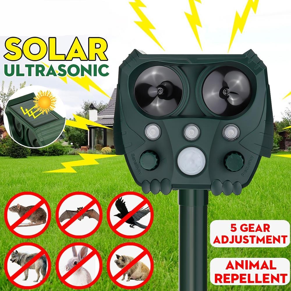 2020 Solar Power Ultrasonic Animal Repellent Outdoor Waterproof Dog Cat Rat Bird Animal Bat Squirrel Pest Control Supplies
