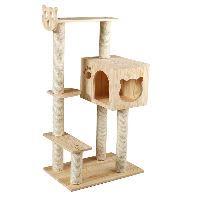 Solid Large size sisal cat scratching post scratching Wood cat tree house pet furniture play house pet supplies dropshipping - 4