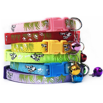 Nylon with Bell Pet Cute Fashion Grass Dog Cat Puppy Charm Adjustable Lovely Safety Collars 1PC New Buckle image
