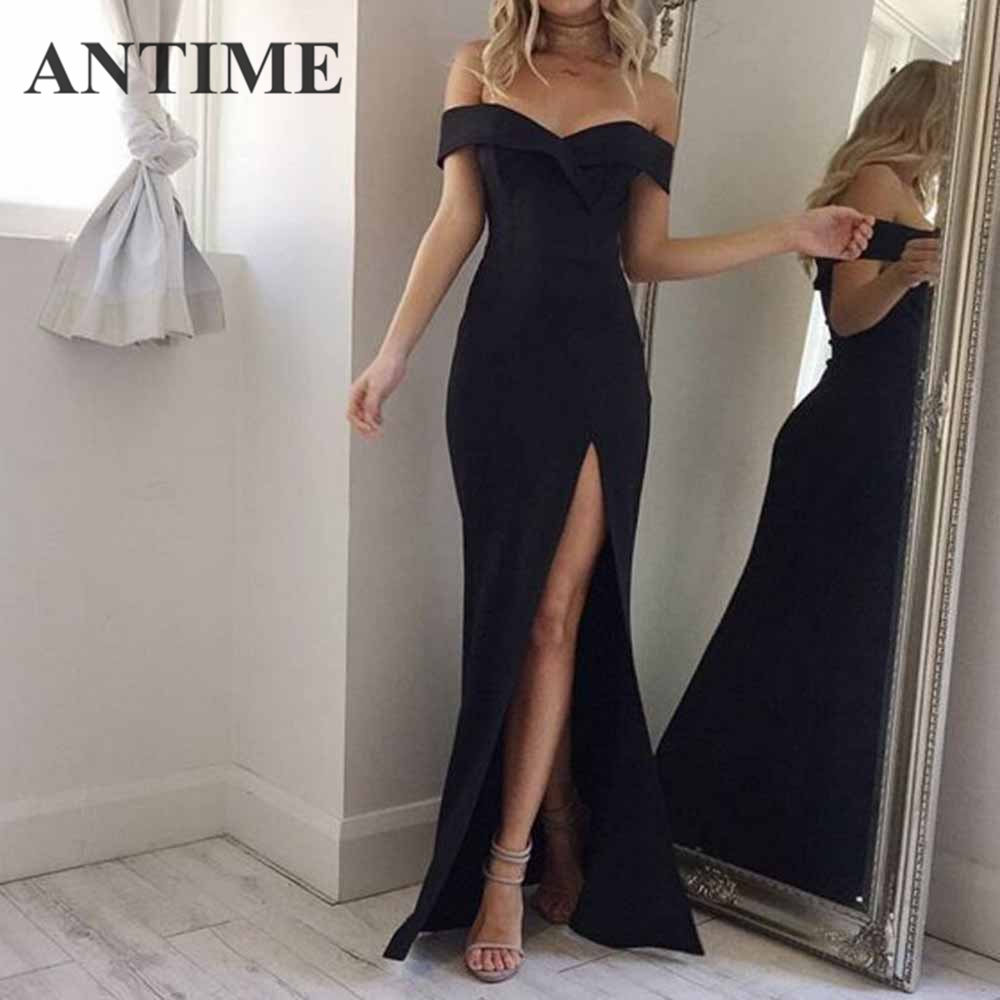 ANTIME Maxi Split Party <font><b>Dress</b></font> Women Casual Deep V Neck Spring Summer Short Sleeve Solid A Line Long Elegant <font><b>White</b></font> <font><b>Sexy</b></font> <font><b>Dresses</b></font> image