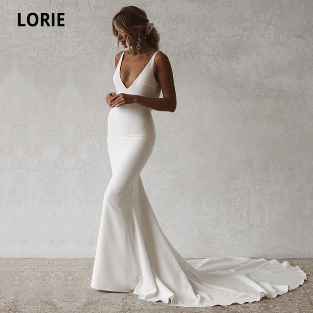 LORIE Sexy Mermaid Wedding Dresses Boho V-Neck Open Back Elastic Wedding Gown Simple Long Train Buttons Bridal Dress 2021 1