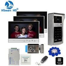 Sistema de intercomunicación de teléfono para puerta 3 LCD de 9 pulgadas, Cerradura de perno eléctrico, tarjeta inductiva de identificación, cámara de contraseña, fuente de alimentación y salida de puerta