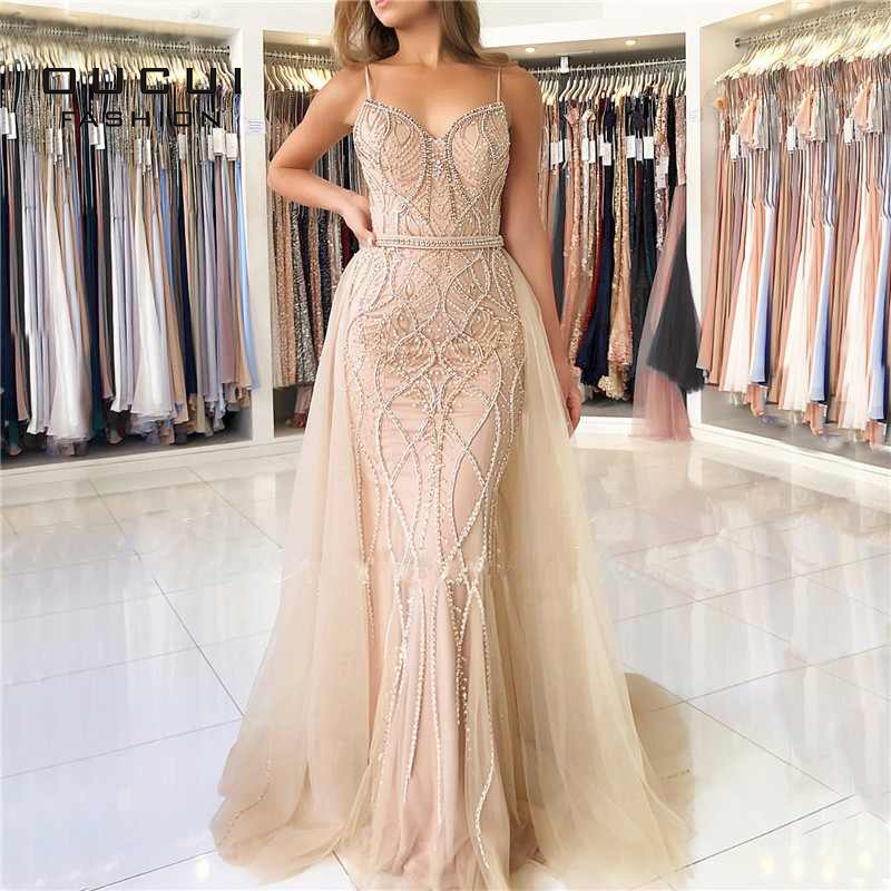 Dubai Luxury Sexy Evening Dresses Long 2019 Sweetheart Pearls Crystal Nude White Backless Mermaid Evening Gowns OL103332