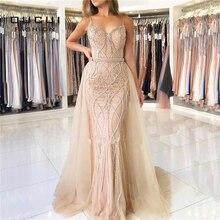 Oucui Vestidos largos de noche de lujo de Dubái, Vestido largo de sirena con perlas de cristal, color blanco Nude, Espalda descubierta, OL103332