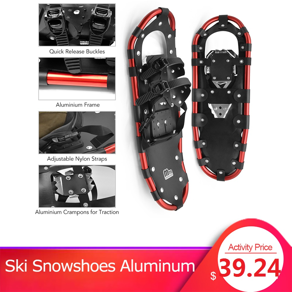 Ski Snowshoes Women Men Aluminum Snow Shoes Women Shoes Ski Boots Adjustable Bindings Carrying Tote Bag Outdoor Winter Snowshoes