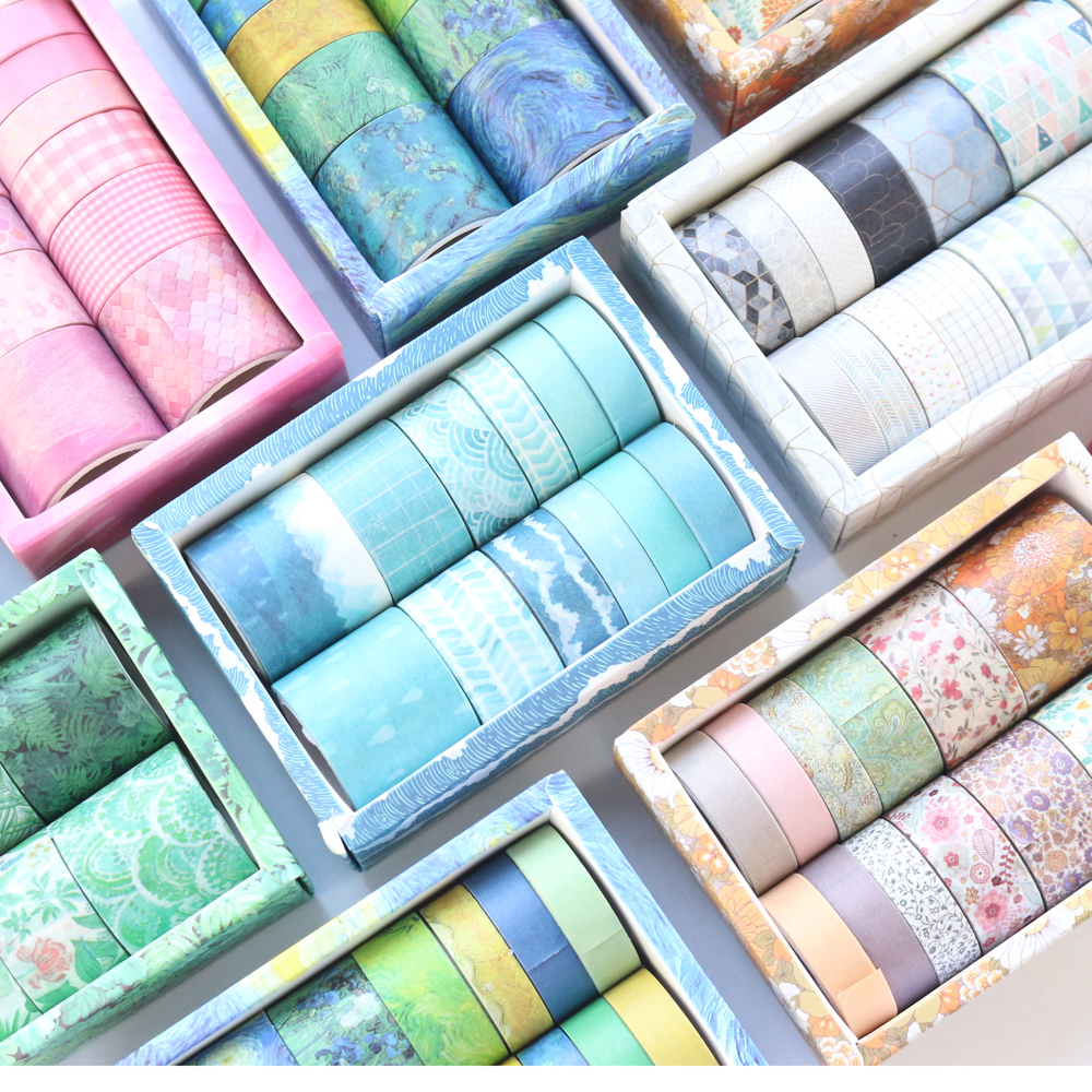 Domikee 12 Rolls Classic Decorative DIY Washi Tapes Set For Bullet Journal Diary Fine Scrapbooking Craft Masking Tape Stationery