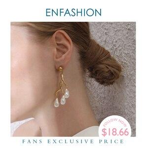 Image 1 - ENFASHION Metal mercan düzensiz inci bırak küpe kadınlar için altın renk dalları bildirimi Dangle küpe moda takı E1090