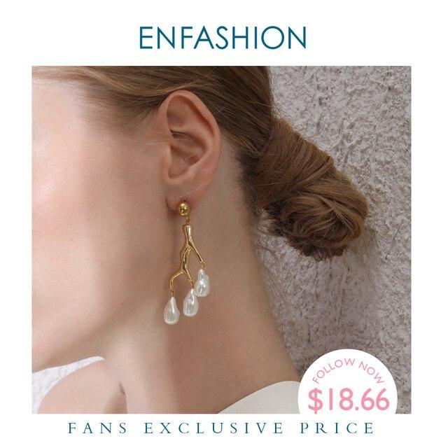 ENFASHION Metal mercan düzensiz inci bırak küpe kadınlar için altın renk dalları bildirimi Dangle küpe moda takı E1090