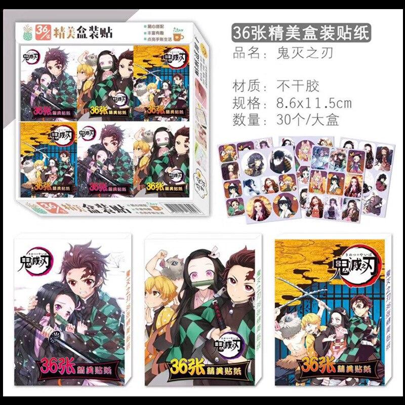 10 Boxes/lot Anime Kimetsu No Yaiba/ Demon Slayer Magic 3d Wall Boxed Stickers Toy Gift 8.6×11.5cm