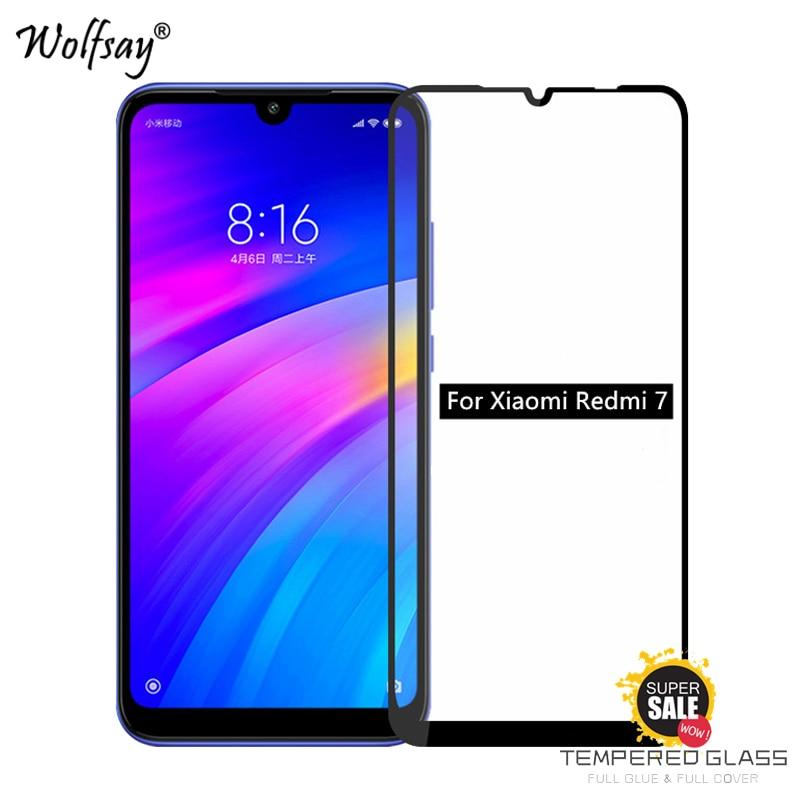 2PCS Full Glue Glass For Xiaomi Redmi 7 Screen Protector Tempered Glass For Xiaomi Redmi 7 Glass Phone Film For Xiaomi Redmi 7