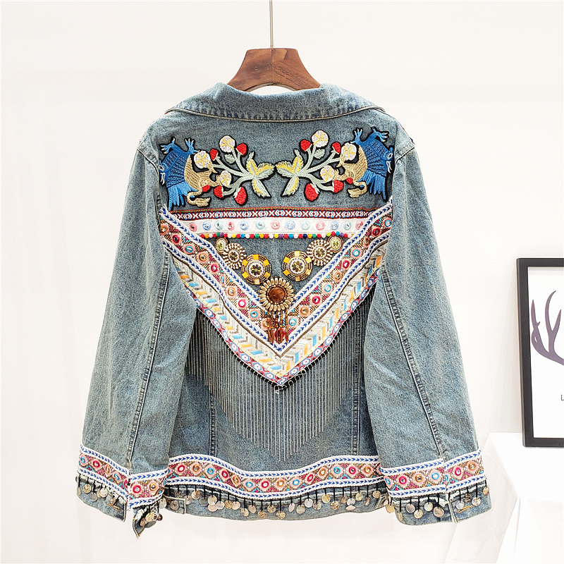 2020 New Denim Jacket Woman Boho Embroidery Light Blue Loose Denim Coat Woman Vintage Chic Chains Jacket Female Spring Summer