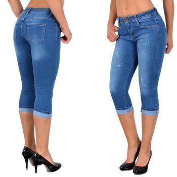 Plus Size Fashion Summer Women High Waist Skinny Jeans Knee Length Hole Ripped Denim Capri Slim Streetwear Stretch Casual Pants