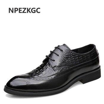 Mens formal shoes leather oxford shoes for men dressing wedding men's brogues office shoes lace up male zapatos de hombre,,