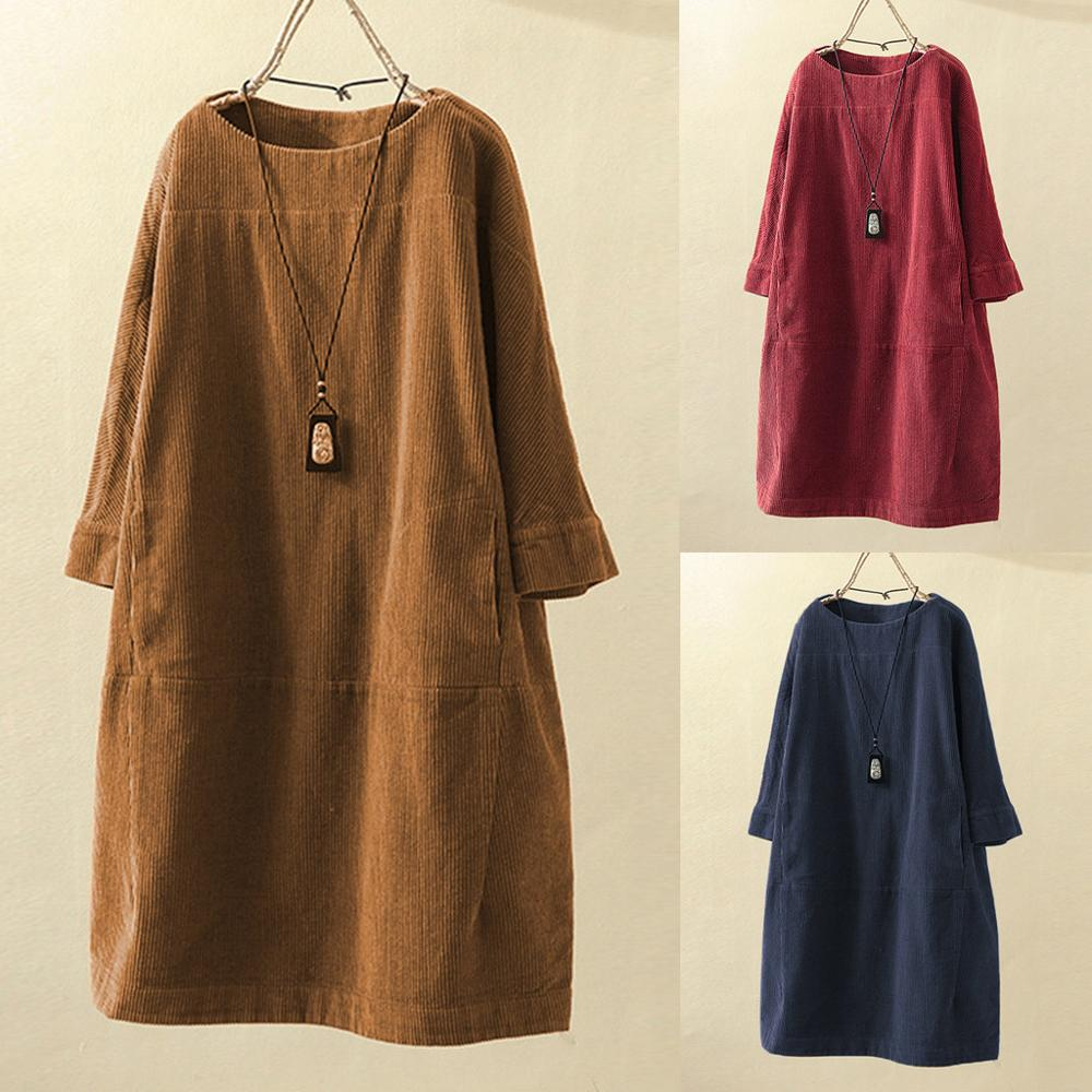 High Quality Corduroy Dress Women Autumn Winter 2019 Vintage Pockets  Solid  Long Sleeve Loose Casual Dress