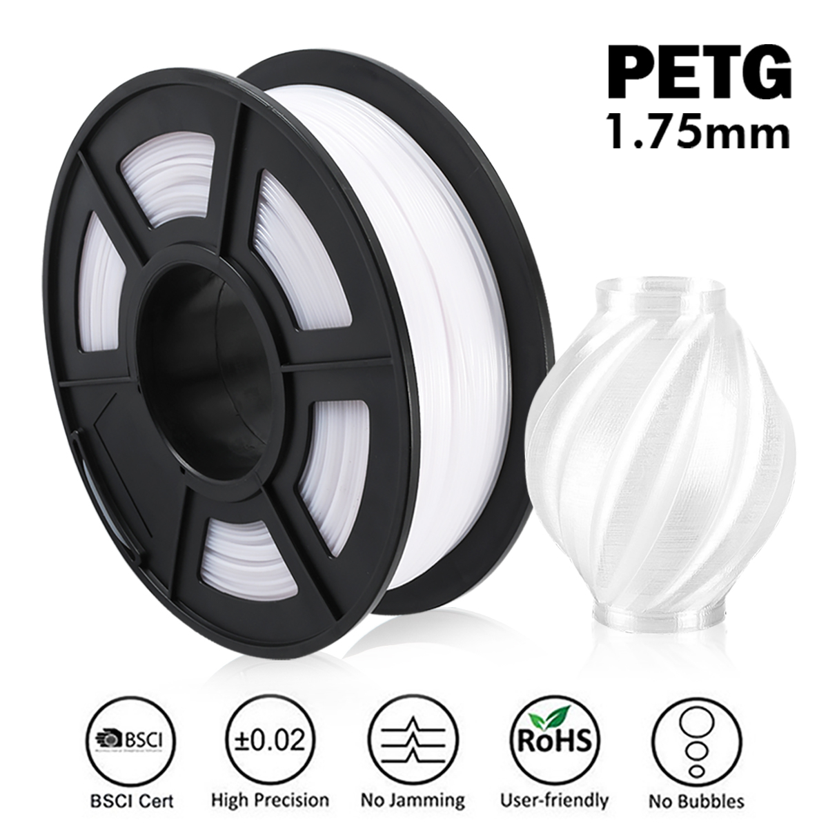 PETG 3D Printer Filament 1.75mm 1KG 2.2lbs Spool Support Defferent Material 3D Printer Refill Full Color 3D Filament Order