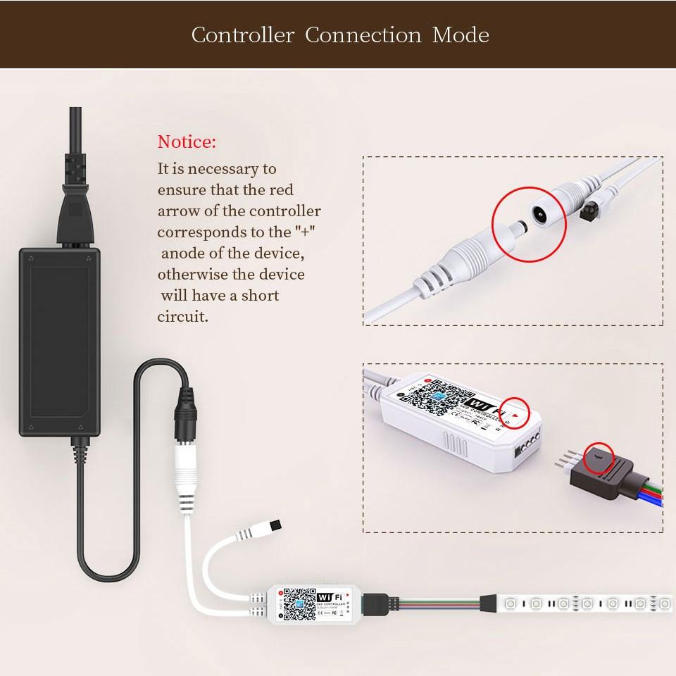 LED Strip Light Smart Christmas Light SMD5050 Flexible Ribbon led strip Alexa RGB Tape Diode DC 12V Remote Wifi Control Adapter (70)