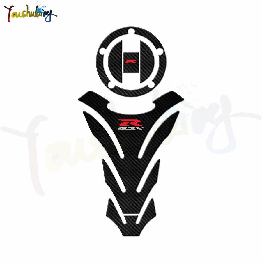 Chrome Carbon Look Fuel Tank Pad+Red/&Silver 3D Suzuki GSXR Logo Emblem Sticker